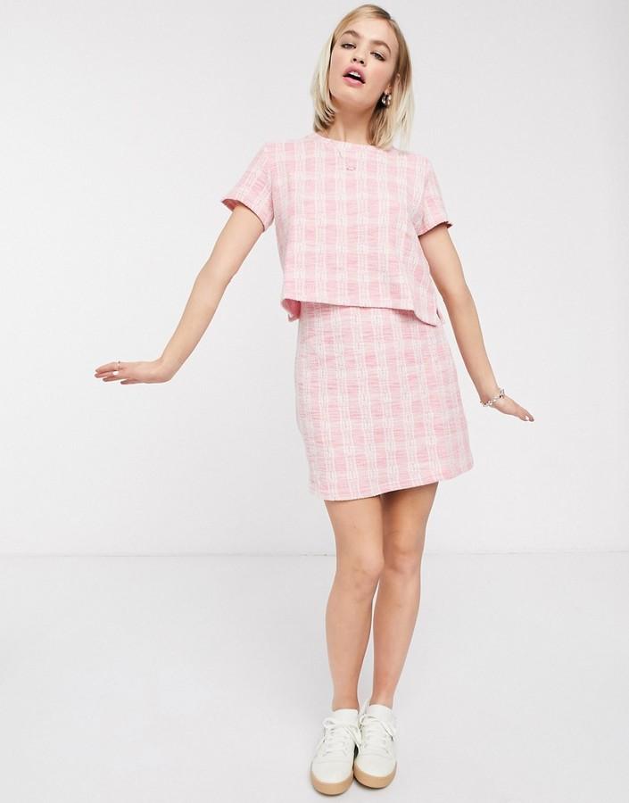 Monki check mini skirt