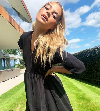 ASOS DESIGN Petite midi smock dress with wrap top in black