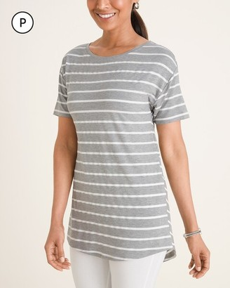 Zenergy Petite Textured Striped Split Tunic