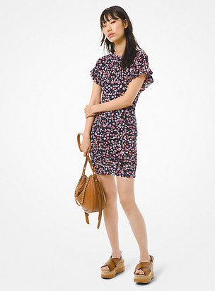 Michael Kors Floral Matte Jersey Ruffled Dress