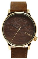 Komono 'Winston' Round Leather Strap Watch, 41mm
