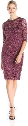 London Times Women's Long Sleeve Beaded Neck Lace Sheath Dress