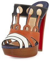 Christian Louboutin Leather Cutout 140mm Red Sole Sandal, Multi