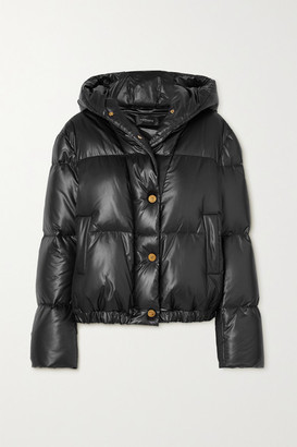 Versace Hooded Quilted Shell Down Coat - Black