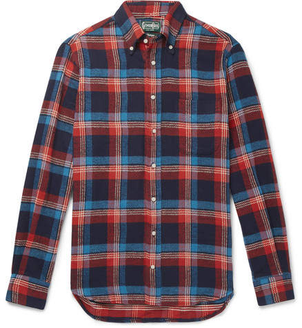 Gitman Brothers Button-Down Collar Checked Cotton-Twill Shirt