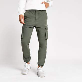River Island Mens Khaki skinny fit cargo trousers