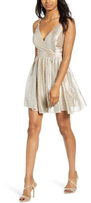 Speechless Metallic Glitter Fit & Flare Dress
