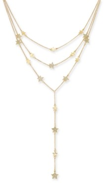 Thalia Sodi Gold-Tone Pave Star Layered Lariat Necklace, Created for Macy's