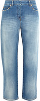 Valentino Studded Cropped Mid-rise Boyfriend Jeans - Mid denim