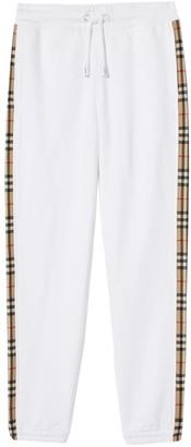 Burberry White Check Print Panel Sweatpants