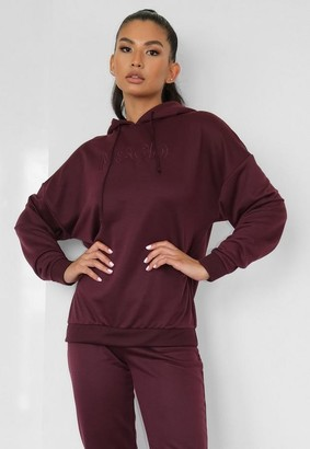 Missguided Burgundy Msgd Oversized Gym Hoodie