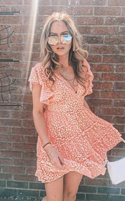IKRUSH Cinzia Ditsy Print Layered Shift Dress