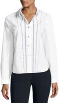 Elie Tahari Joyce Embroidered Button-Front Blouse, White