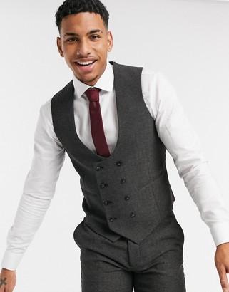 ASOS DESIGN wedding super skinny wool mix suit suit vest in charcoal herringbone