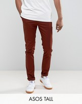 Asos Tall Skinny Chinos In Rust
