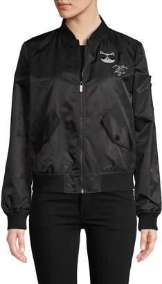 Karl Lagerfeld Paris Embroidered Bomber Jacket