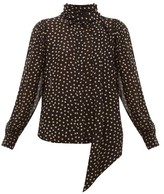 Ganni Polka Dot-print Crepe Blouse - Womens - Black