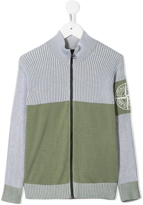 Stone Island Junior Ribbed Knit Cardigan