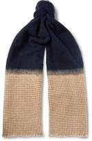 Brunello Cucinelli Fringed Bouclé and Houndstooth Cashmere-Blend Scarf