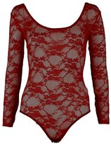 Fashion Box Womens Long Sleeves Floral Lace Bodysuit