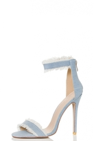 Quiz Light Denim Distressed Barely There Sandals