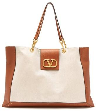 Valentino City Safari Leather-trimmed Canvas Tote Bag - Beige Multi