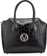 Mario Valentino Valentino By Minimi Croc-Embossed Leather Top-Handle Satchel Bag