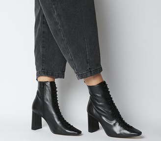 Office Affection Block Heel Lace Up Boots Black Leather