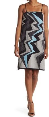M Missoni Jagged Stripe Metallic Slip Dress