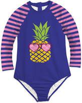 Sunshine Swing Girls' One Piece Swimsuits - Blue & Pink Pineapple Stripe Long-Sleeve One-Piece - Toddler & Girls