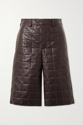 Bottega Veneta Quilted Leather Shorts - Brown