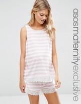Asos Stripe Lace Trim Short and Tank Pajama Set
