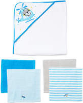 SpaSilk Blue & White Helicopter Hooded Towel & Washcloth Set