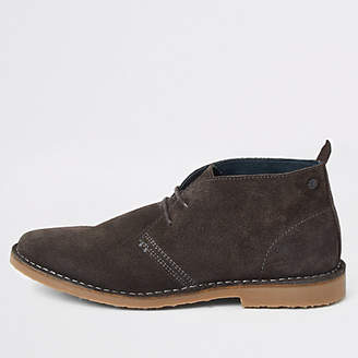 River Island Grey suede wide fit desert boots