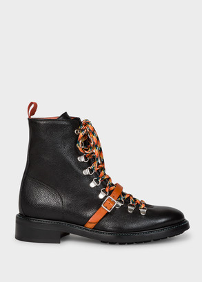 Paul Smith Women's Black Leather 'Pepper' Lace Up Boots
