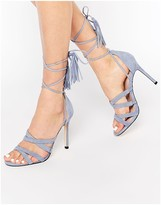 Faith Daft Pale Blue Suede Ghillie Tie Up Heeled Sandals