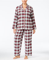Charter Club Plus Size Printed Flannel Pajama Set, Only at Macy's