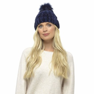 Foxbury Ladies Chunky Soft Chenille Winter Hat with a Faux Fur Pompom - Navy