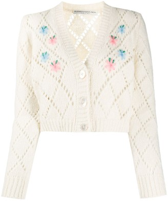 Alessandra Rich Embroidered Pointelle Knit Cardigan