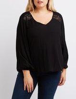 Charlotte Russe Plus Size Lace-Trim Split Back Blouse