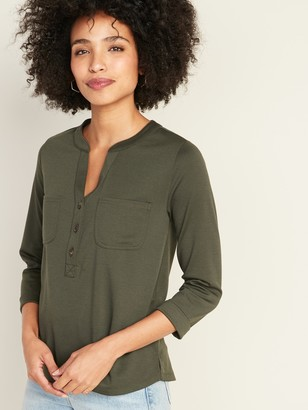 Old Navy Relaxed Bracelet-Sleeve Ponte-Knit Utility Shirt for Women