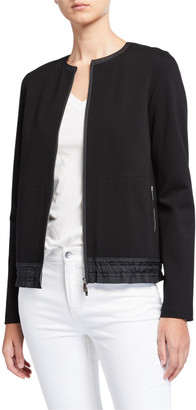 Lafayette 148 New York Harris Punto Milano Zip Front Jacket