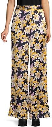 Floral-Print Wide-Leg Silk Pants