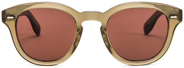 Oliver Peoples Cary Grant Sunglasses in Dusty Olive & Rosewood | FWRD