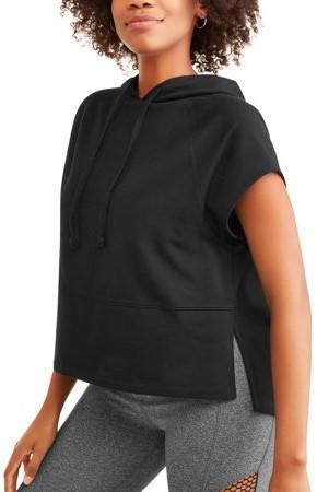 Avia Women's French Terry Short Sleeve Side Slit Crop Hoodie