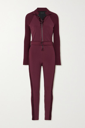 Vaara Sofia Belted Satin-trimmed Stretch And Ribbed-knit Jumpsuit - Plum