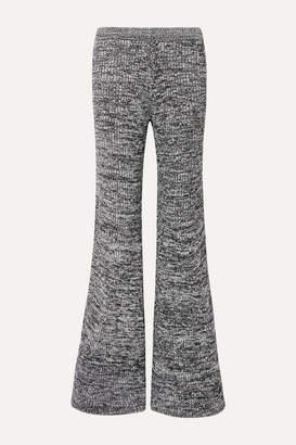 Victoria Victoria Beckham Victoria, Victoria Beckham - Mélange Ribbed-knit Flared Pants - Navy