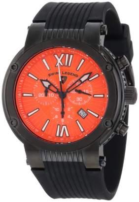 Swiss Legend Men's 10006-BB-06 Legato Cirque Chronograph Textured Dial Black Silicone Watch