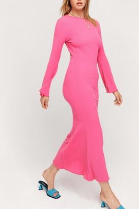 Nasty Gal Womens Ripple Rib Flare Sleeve Backless Maxi Dress - Pink - 10