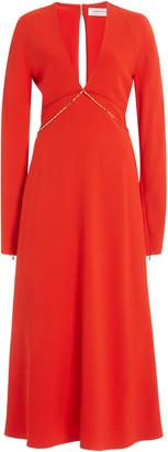 Victoria Beckham Keyhole Crepe Midi Dress